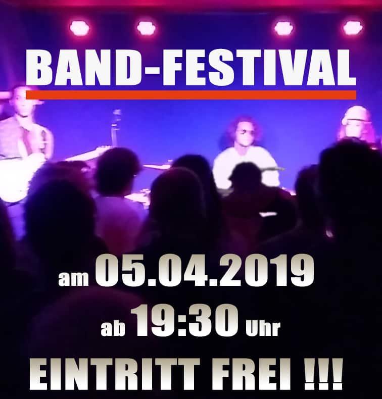 Plakat zum Band-Festival der Musikschule Bandschmiede am 05.04.2019